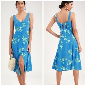 Lulus Hanna Blue Floral Print Tie-Back Midi Dress